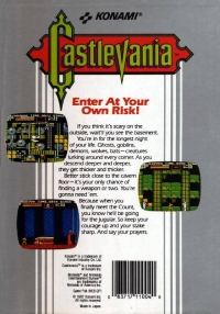 Castlevania (5 screw cartridge, round seal) Box Art