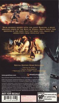 God of War: Chains of Olympus Demo Disc Playstation Underground Mailer Box Art