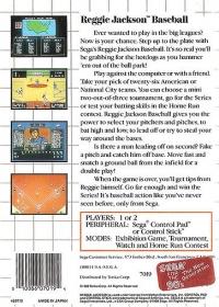 Reggie Jackson Baseball (Sega for the 90s) Box Art