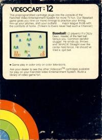 Videocart 12: Baseball Box Art