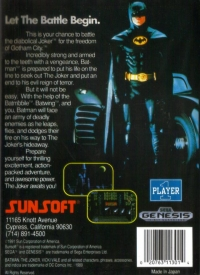 Batman (cathedral screen on back) Box Art