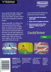 Deadly Towers (3 screw cartridge) Box Art