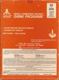 Missile Command (Picture Label) Box Art