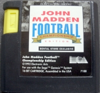 John Madden Football '93 - Championship Edition (Rental Store Exclusive) Box Art