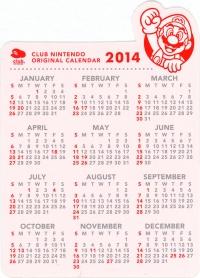 2013 Club Nintendo Gold Member Reward - 2014 Calendar Box Art