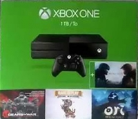 Microsoft Xbox One 1TB - Halo 5: Guardians / Gears of War Ultimate Edition / Rare Replay / Ori and the Blind Forest Box Art