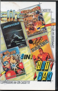 4 in 1 Hit Pak: Airwolf, Commando, Bomb Jack, Frank Bruno's Boxing Box Art