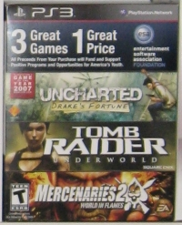 ESA Game Pack: Uncharted: Drake's Fortune / Tomb Raider Underworld / Mercenaries 2: World in Flames Box Art
