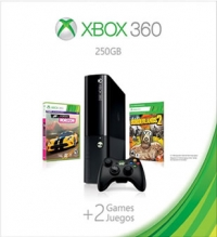 Microsoft Xbox 360 250GB +2 Games - Forza Horizon / Borderlands 2 Box Art